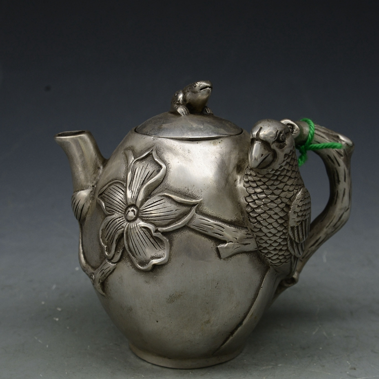 China Tibet Old Vintage Handwork Silver Copper Flowers and birds statue Teapot metal handicraft potChina Tibet Old Vintage Handwork Silver Copper Flowers and birds statue Teapot metal handicraft pot