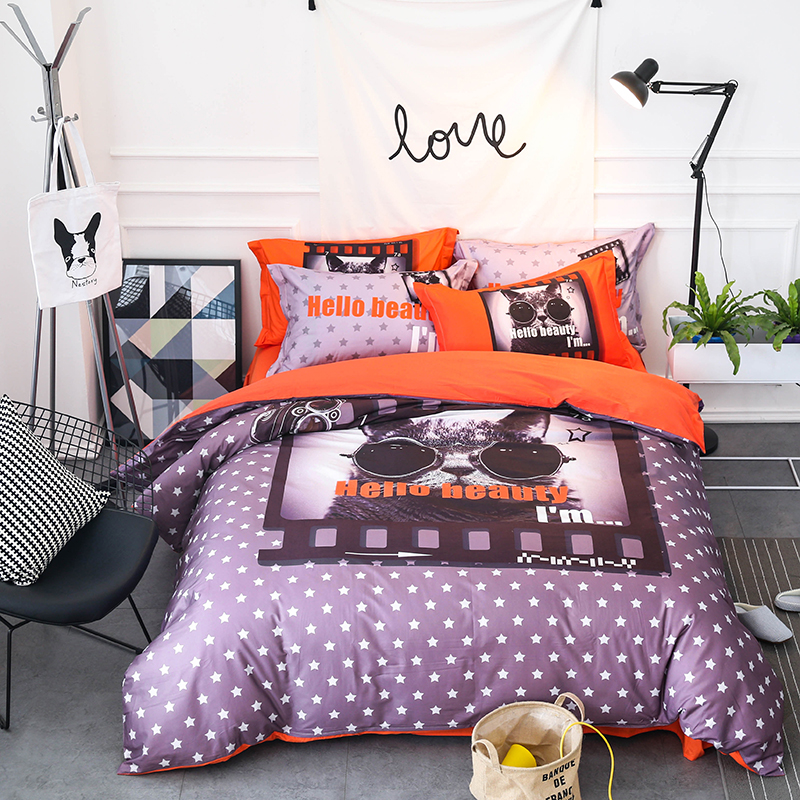 4Pcs 100% Cotton Dogs Cats 3D print Cute Bedding sets Queen King size Bed sheet Duvet cover set pillowcases housse de couette
