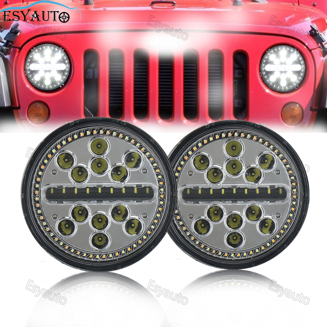 """Newest Design!7"""" LED Headlights Round 7 Inch Offroad Headlamps Hi/Lo Beam with White DRL and Amber Turn Signal kits for 4x4 Jeep"""