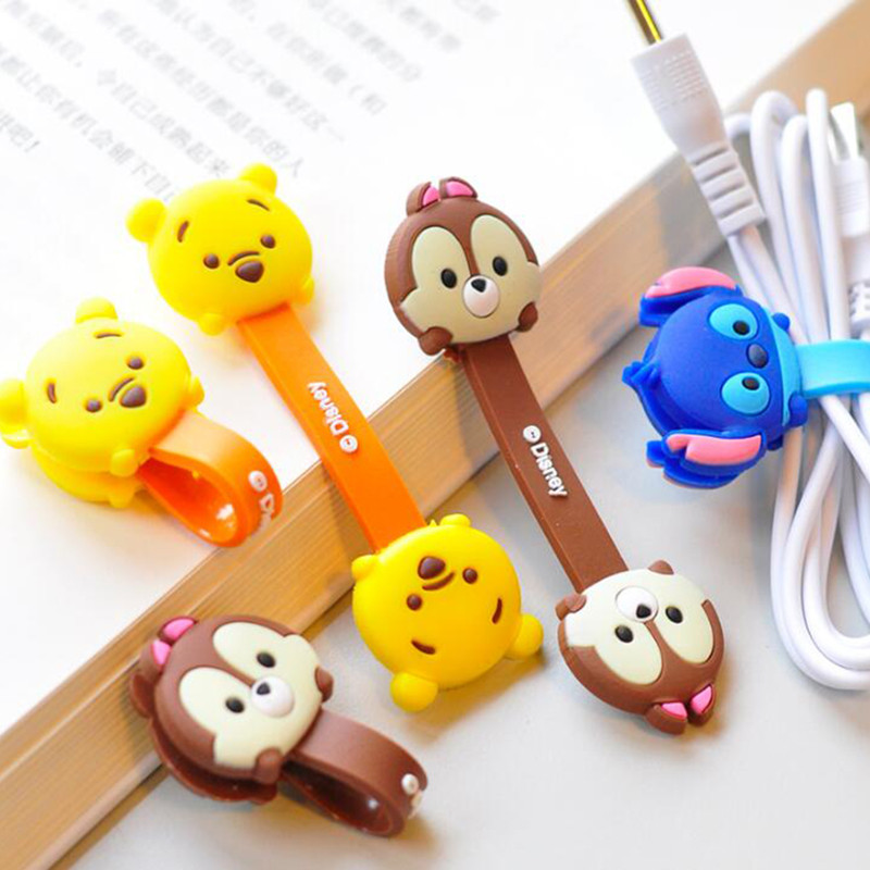2-Pieces-Cute-Cartoon-Kawaii-Mobile-Phone-USB-Cable-Fastener-Button-Organizer-Wire-headset-Holder-line