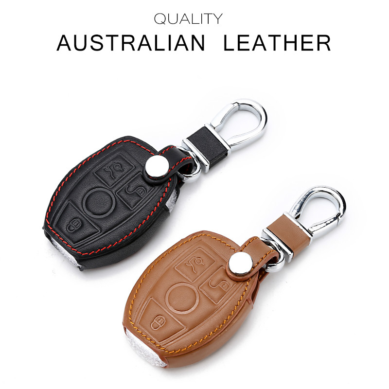 Leather Key Case For Car 3 Buttons Key Cover For Mercedes Benz E C W204 W205 W212 With Keychain Key Portect
