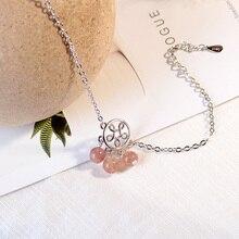 Anenjery Natural Strawberry Crystal Tassel Bracelet For Women Girl Gift Silver Color Hollow Flower Bracelet S-B178