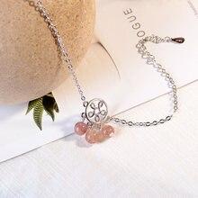 Anenjery – Bracelet à pampilles en cristal naturel fraise pour femmes et filles, couleur argent, ajouré avec fleur, cadeau, S-B178