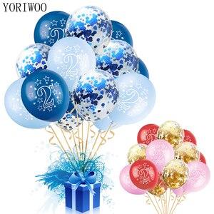 YORIWOO 15pcs Happy Birthday 2 Years Balloon Baby Shower Boy Girl Latex Balloons Confetti Set 2nd Birthday Party Decoration Kids
