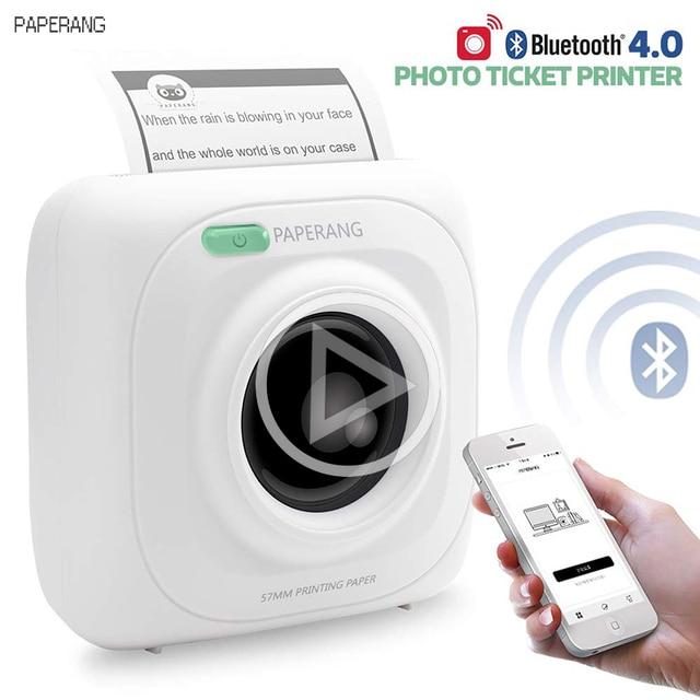 PAPERANG P1 portátil Bluetooth 4,0 impresora térmica teléfono fotográfico conexión inalámbrica Mini impresoras de bolsillo para iOS Android Windows