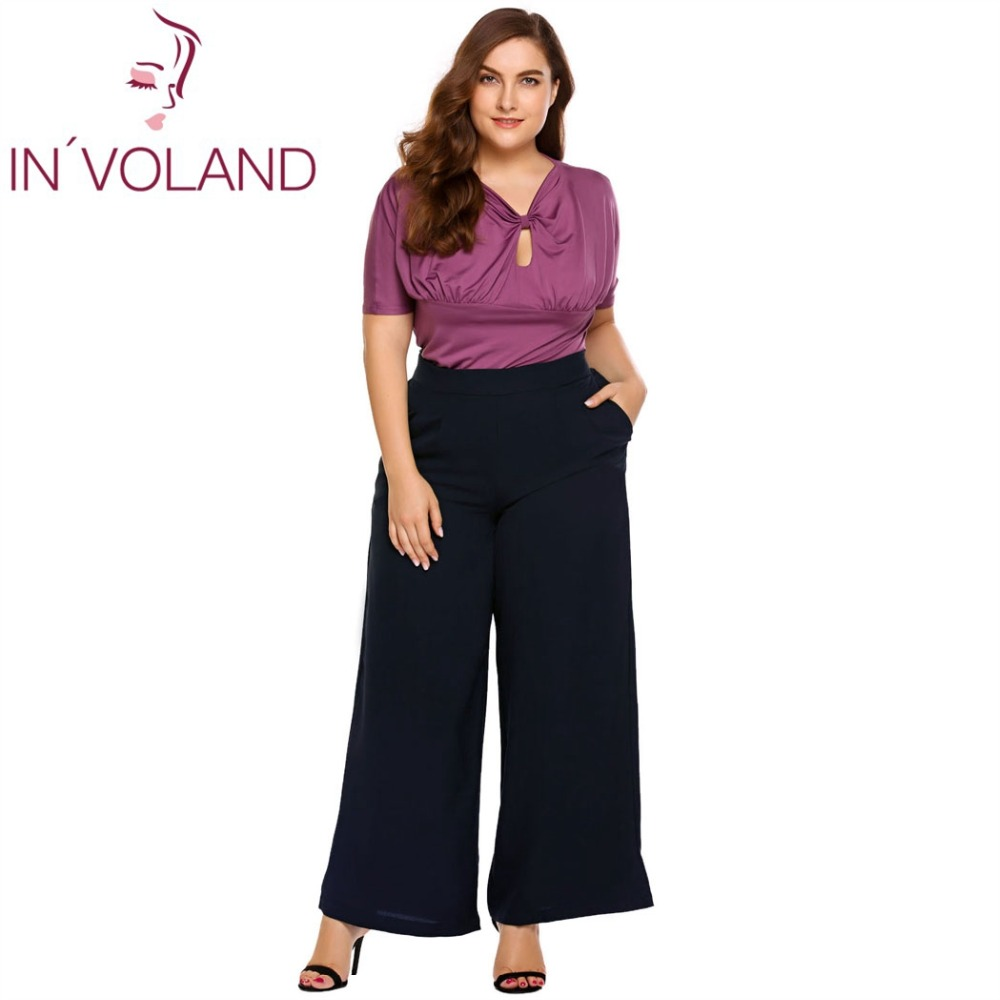 IN'VOLAND Oversized L-5XL Women   Wide     Leg     Pants   Spring Autumn Casual Large High Waist Solid Long Culottes Ladies Trouser Big Size