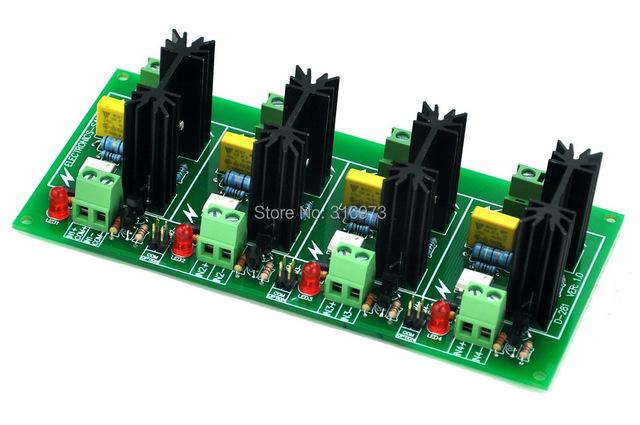 Cuatro Canal 6A Módulo SSR Board, en 4 ~ $ number VCC, salida 100 ~ 240VAC, Relé de Estado sólido.