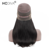 HCDIVA Hair Product 360 Wig Lace Frontal Human Hair Wigs Pre Plucked 130% Density Brazilian Straight Wig with Baby Hair Remy