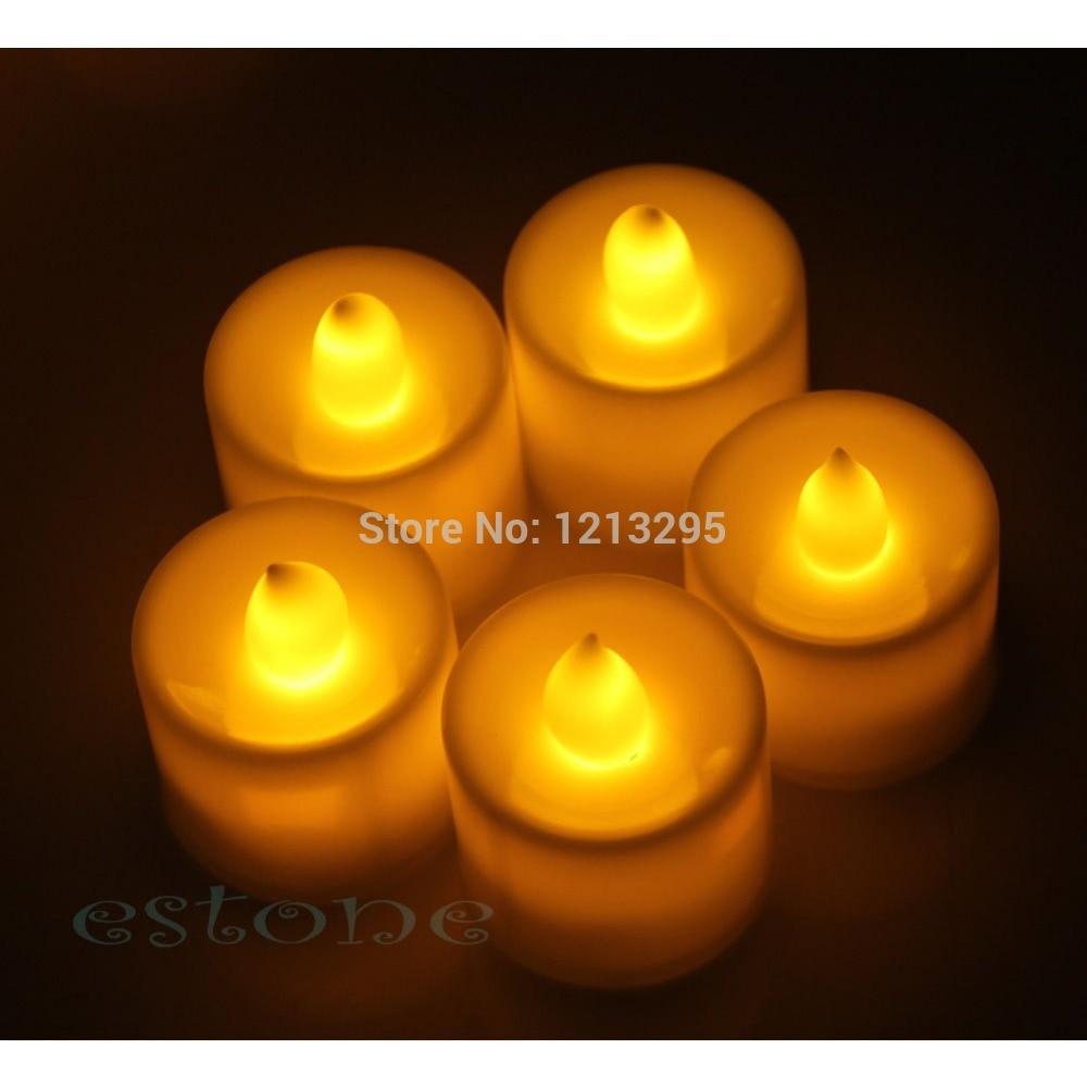 Y102 12 New Flickering Flicker Light Flameless LED Tealight Tea Candles Wedding Light