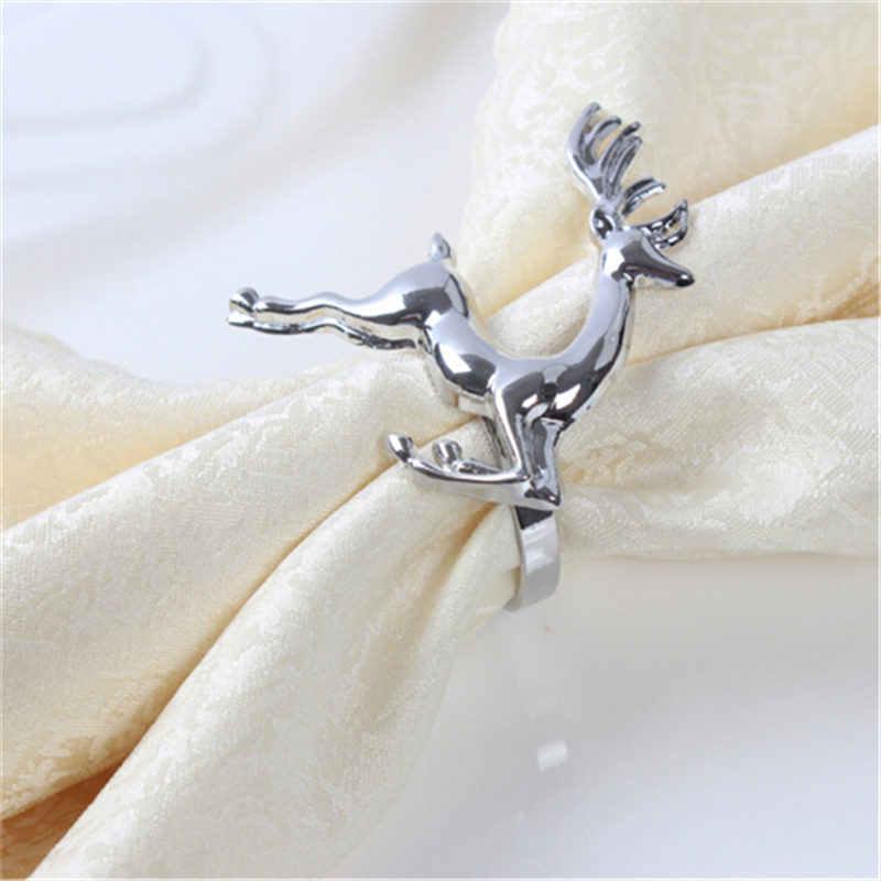 Hot Christmas DeerAlloy Napkin Buckle Wedding Party Napkin Ring Holder Desktop Decoration Elk Napkin Ring