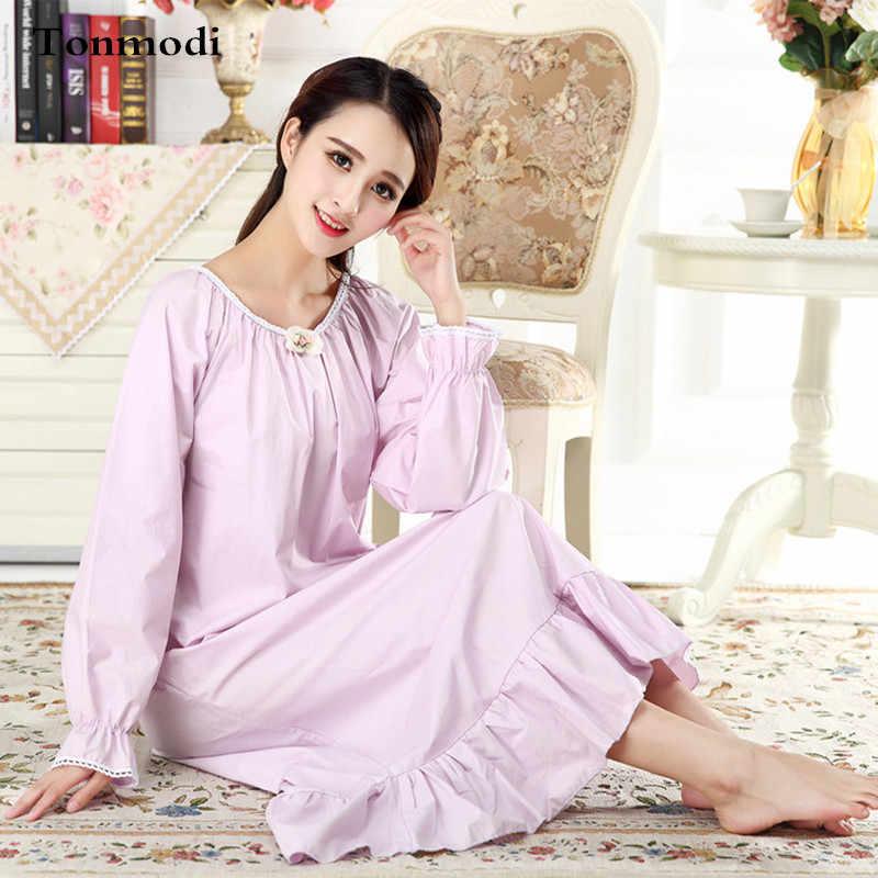 Женская длинная ночная рубашка из хлопка с длинным рукавом|ночная для женщин|для