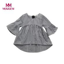 MUQGEW Dress For Girls Baby Girls Infant Toddler Kids Clothes Fashion Stripe Long Sleeve Spring Princess Tops Outfits Dress 2018