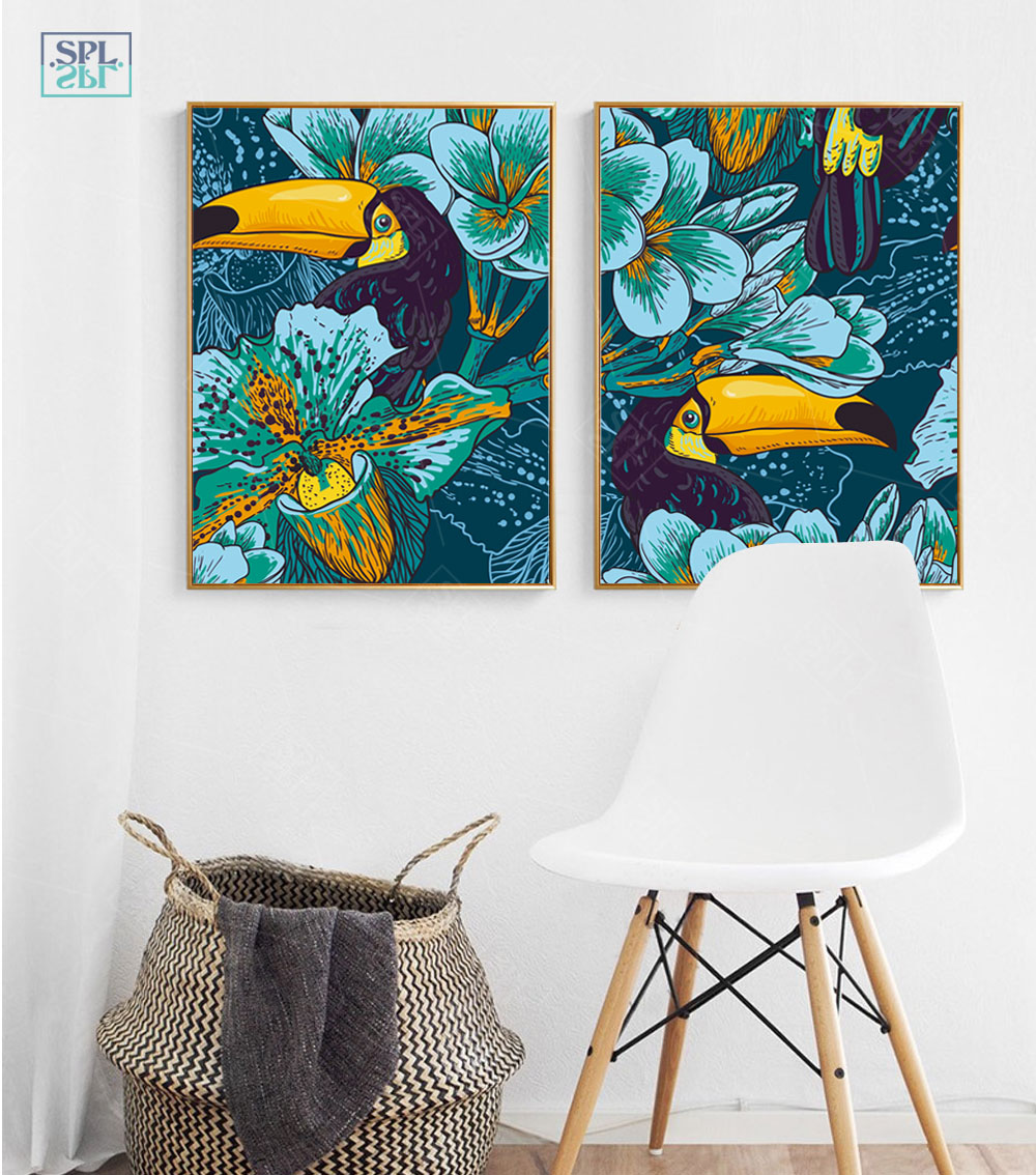 SPLSPL Lovely Parrot Bird Animals Canvas Art Print Poster, Unframed Wall Pictures For Home Decoration