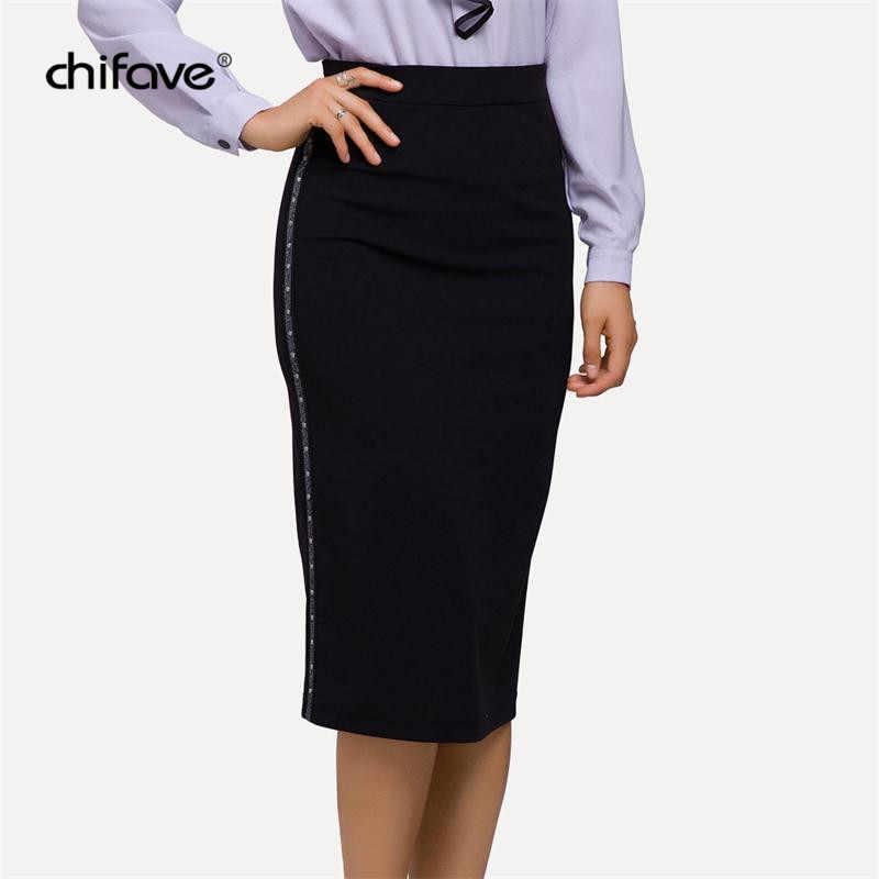 b7ea5f1d6 Women Casual Midi Skirt Vintage Black Office Lady Pencil Skirt Sexy High  Waist Slim Fit Female