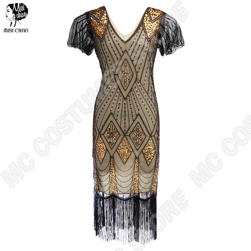Style 1920s Flapper Gatsby Vintage Dress With Sleeves Art Deco Fringe Dresses Women Embellished Party Summer Sequin Sleeves
