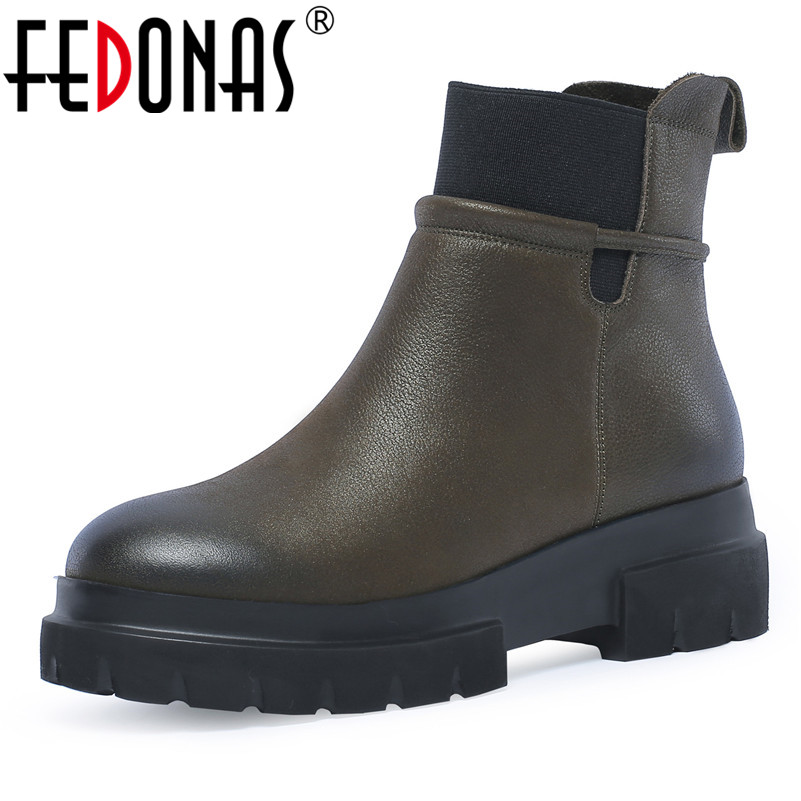 FEDONAS New Arrival Woman Ankle Boots Autumn Winter Warm High Heels Shoes Woman Round Toe Retro Genuine Leather Motorcycle Boots цены онлайн