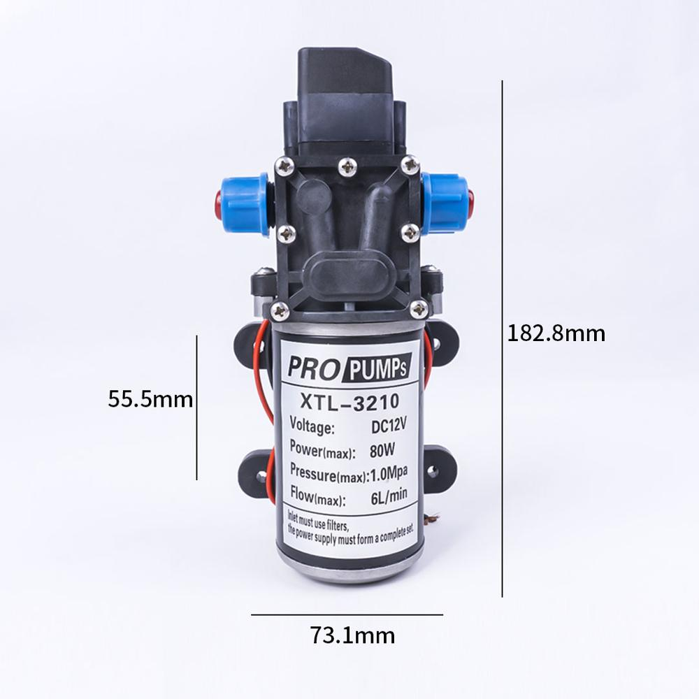 DC 12V 80W 1.0Mpa 130PSI 6L/Min eau haute pression pompe à eau à membrane pompe auto-amorçante commutateur automatique pour Wagon de jardin - 5