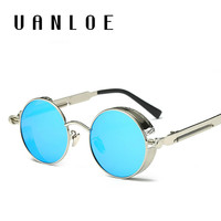 Men Steampunk Round Metal Frame Sun Glasses Eyewear Brand Designer High Quality UV400