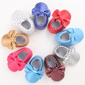 11 Colors New Fashion Polka Dot Big Bow Newborn Baby Girls First Walkers PU Leather Baby Moccasins Soft Moccs Shoes Footwear