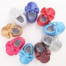 11 Цветов Новая Мода Горошек Большой Лук Новорожденный Ребенок девушки Первые Ходоки PU Кожаные Детские Мокасины Soft Moccs Детская Обувь обувь