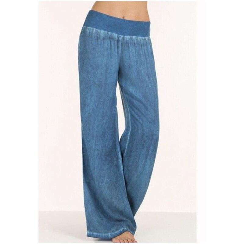 Plus Size S-5XL comfortable blue black loose wide leg denim pants women's   jeans   elastic waist cowboy full long trousers pants