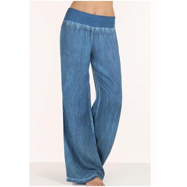 458ea9a7fc6cd Plus Size S 5XL comfortable blue black loose wide leg denim pants women s  jeans elastic waist cowboy full long trousers pants-in Jeans from Women s  Clothing ...