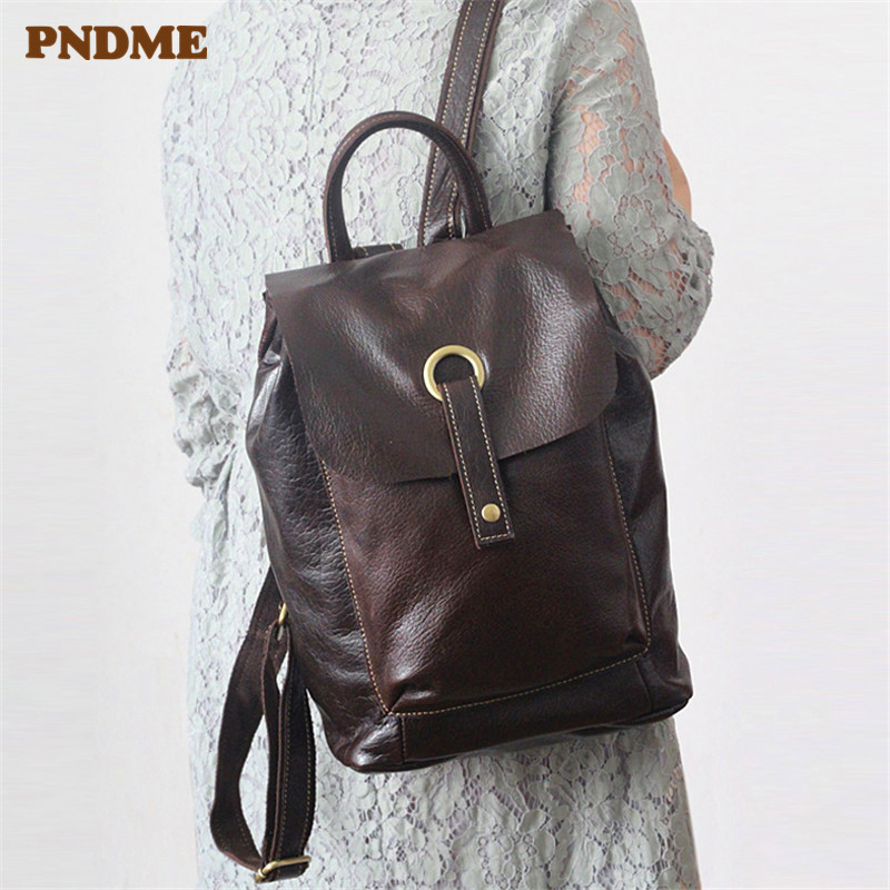PNDME simple genuine leather womens backpack cowhide leather waterproof travel bags bookbag bagpack luggage shoulder bagsPNDME simple genuine leather womens backpack cowhide leather waterproof travel bags bookbag bagpack luggage shoulder bags