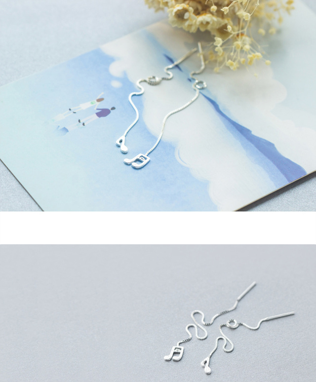 925 Sterling Silver Music Notation Chain Drop Earrings