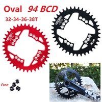 Ultralight Hollow Mountain Bike Oval Chain Wheel 94 BCD 32/34/36/38 Teeth Chainring With Mounting Screws For NX X1 GX Crankset