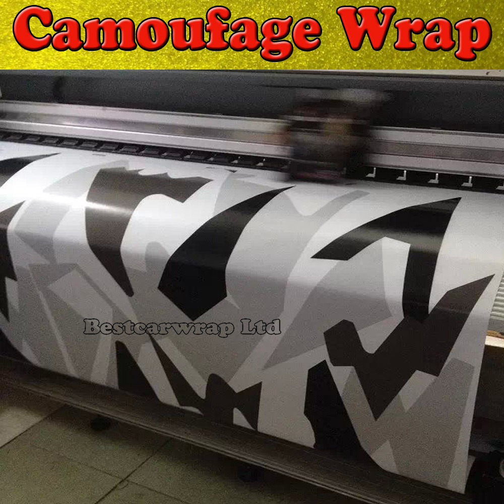 Aliexpress Com Buy White Black Grey Camo Vinyl Car Wrap