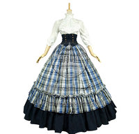 Victorian Gothic Ball Gown Reenactment Stage Punk Blue Tartan Lolita Dress Costume With Stand Collar And Grace Ruffles Fashion