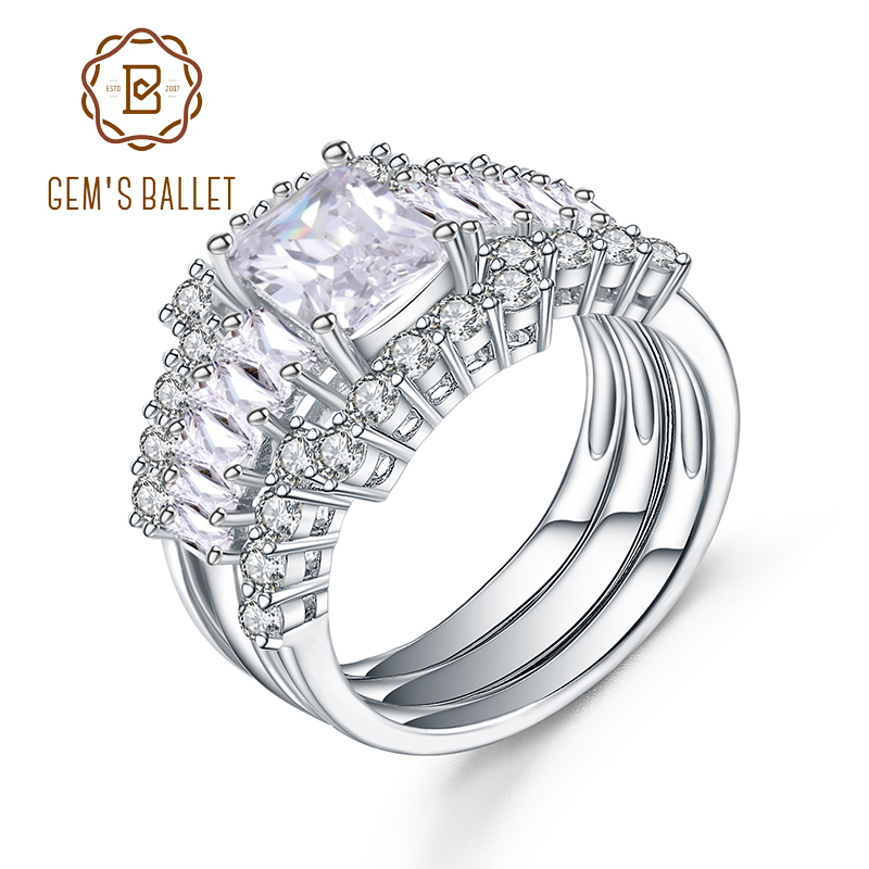 Gem's Ballet 925 Sterling Silver Bridal Set Finger Ring For Ladies Women With Paved Micro Cubic Zircon Crystal Jewelry Wedding