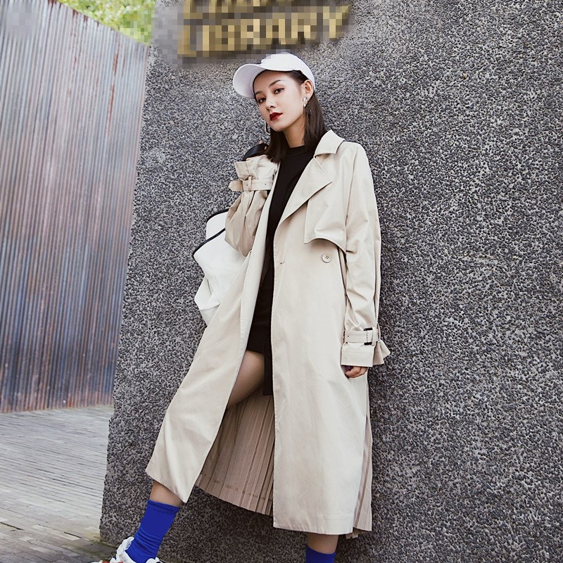 2018 New Women Loose Pleated   Trench   Coat Fashion Patchwork Big Size Windbreaker Female Long Sleeve Long Overcoat