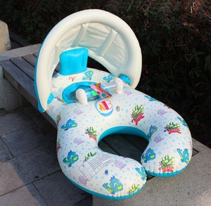 Image 2 - מתנפח תינוק לשחות טבעת הורה לילד כפול צל שחייה טבעת תינוק מתנפח סירת עם סוכך