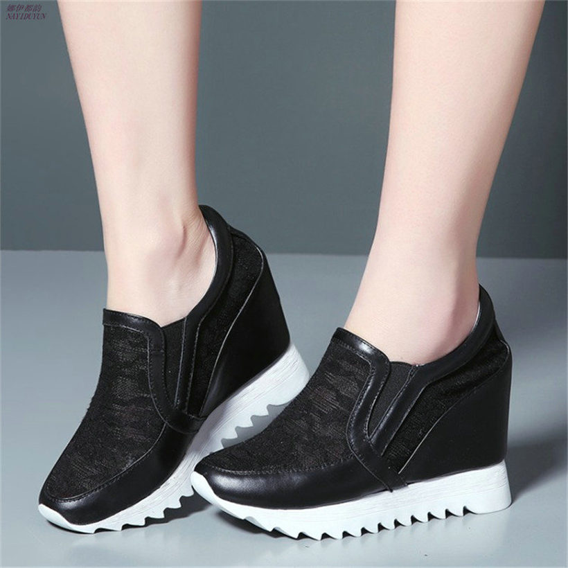 Здесь можно купить  NAYIDUYUN    New Womens Leather Breathable Fashion High Heels Party Pumps Wedge Platform Summer Ankle Boots Casual Punk Greepers  Обувь