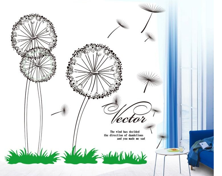 Merry Christmas Quote Wall Art Decal: Dandelion Flowers Painting Home Decoration Big Wall Art