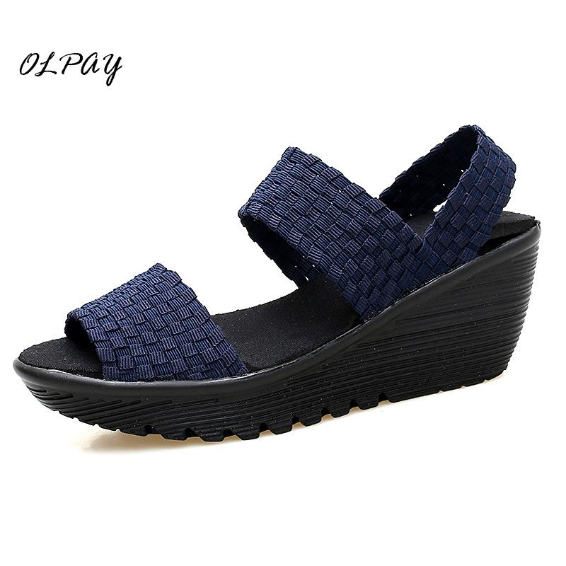 2019 new fashion platform wedge woven shoes Fish mouth comfortable mother sandals Womens shoes Shipping2019 new fashion platform wedge woven shoes Fish mouth comfortable mother sandals Womens shoes Shipping