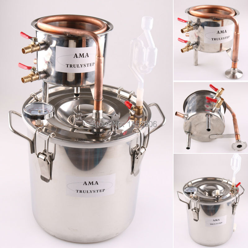 10L ~ 100 Litri New FAI DA TE Casa Distillatore Alambic Alcool Moonshine Still Acciaio Rame Acqua Olio Essenziale di Vino Brewing Kit