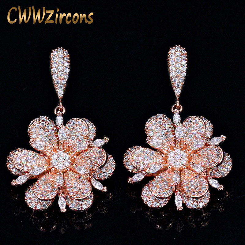 7a41fcad2b5cc8 Detail Feedback Questions about CWWZircons Geometric Rose Gold Color Micro  Pave Cubic Zirconia Stones Dangle Drop Flower Earrings Silver 925 Jewelry  CZ015 ...