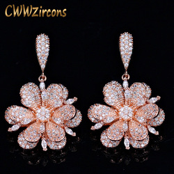 CWWZircons Geometric Rose Gold Color Micro Pave Cubic Zirconia Stones Dangle Drop Flower Earrings Silver 925 Jewelry  CZ015