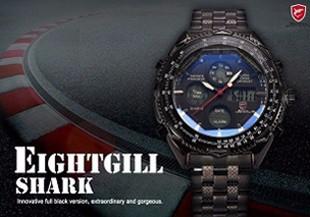 ฉลามกีฬานาฬิกายี่ห้อดิจิตอลเวลาคู่วันLEDสีดำสีแดงนาฬิกาข้อมือผู้ชายเหล็ก 5