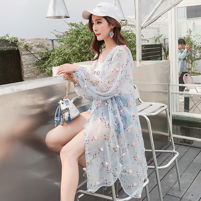 Summer floral print thin long cardigan women flower appliques irregular jaqueta feminina hooded chiffon sun protection shirt top ...