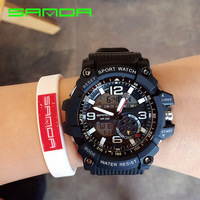 Male Sport Military Wristwatches 2016 New SANDA Watches Men Luxury Brand 3ATM 30m Dive LED Digital
