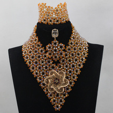 Exclusive Gold and Orange Indian Wedding African Beads Jewelry Set Women Costume Chunky Necklace Set Bride Free Shipping WD527