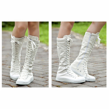 Spring  Autumn Zipper for Women's Shoes High Boots High Platform  Canvas Shoes Solid flat lace-up Shoes Woman fashion boots