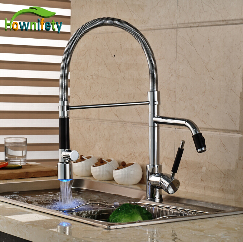 LED Colors Kitchen Sink Faucet Chrome Single Handle Two Spouts Deck Mounted Mixer Tap chrome kitchen sink faucet solid brass spring two spouts deck mount kitchen mixer tap