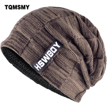 TQMSMY Winter Men Beanies Hat Knitted Add Velvet Beanie Female Skullie