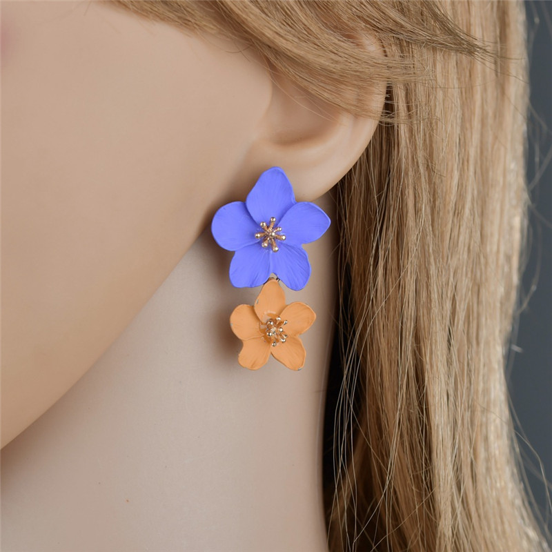 New Lacquered Layering Petals Daisy Flower Earrings For Women Fashion Drop Dangle Korean Jewelry