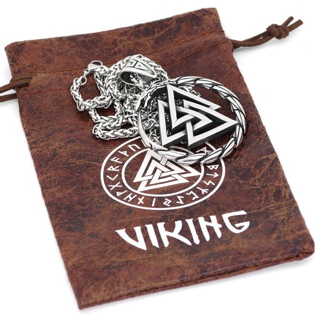 Collier pendentif homme en acier inoxydable Viking Valknut amulette dragon 6