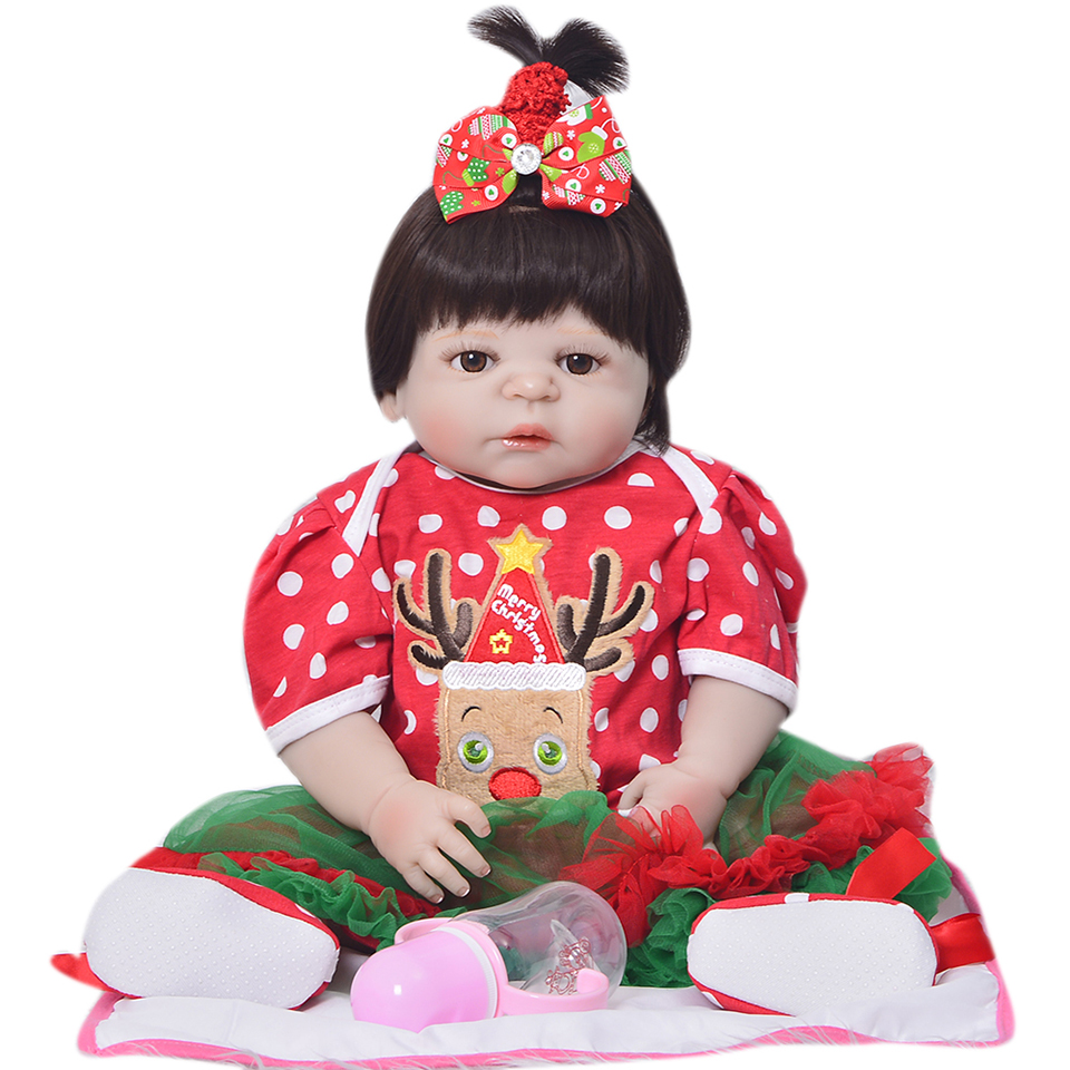 2017 Hot Christmas Gifts Full Silicone Vinyl Babies Reborn Doll 23 inch Realistic Girl Baby Doll Toy with Shoes Menina Brinquedo christmas gifts in europe and america early education full body silicone doll reborn babies brinquedo lifelike rb16 11h10